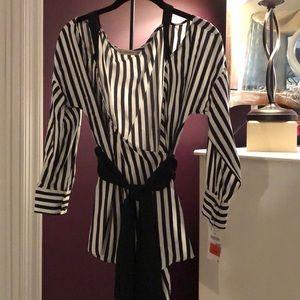 Striped open shoulder wrap top by Zara NWT